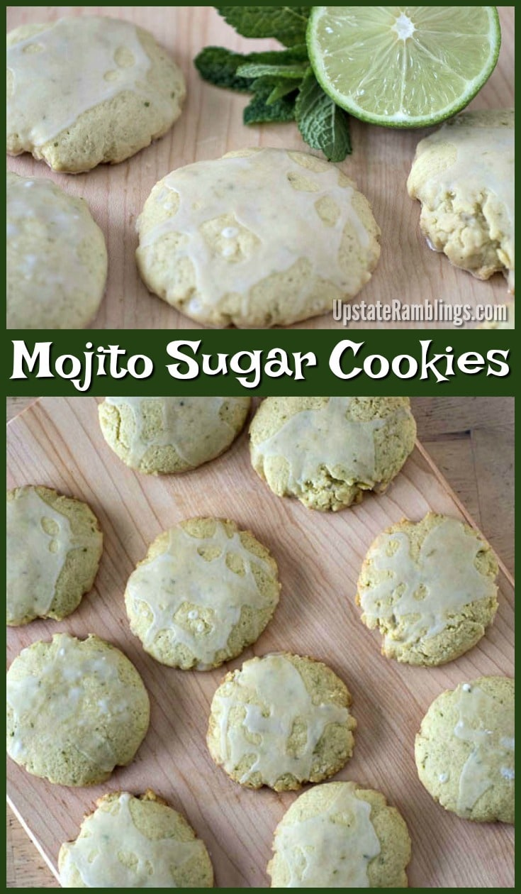 These Mojito Sugar Cookies are a refreshing lime and mint sugar cookie drizzled with a rum glaze for a hint of the tropics.