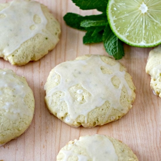 These Mojito Sugar Cookies are a refreshing lime and mint sugar cookie drizzled with a rum glaze for a hint of the tropics. #cookies #mojito #sugarcookies #lime