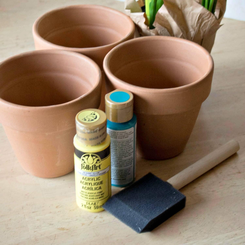 Supplies for Thumbprint Flower Pot