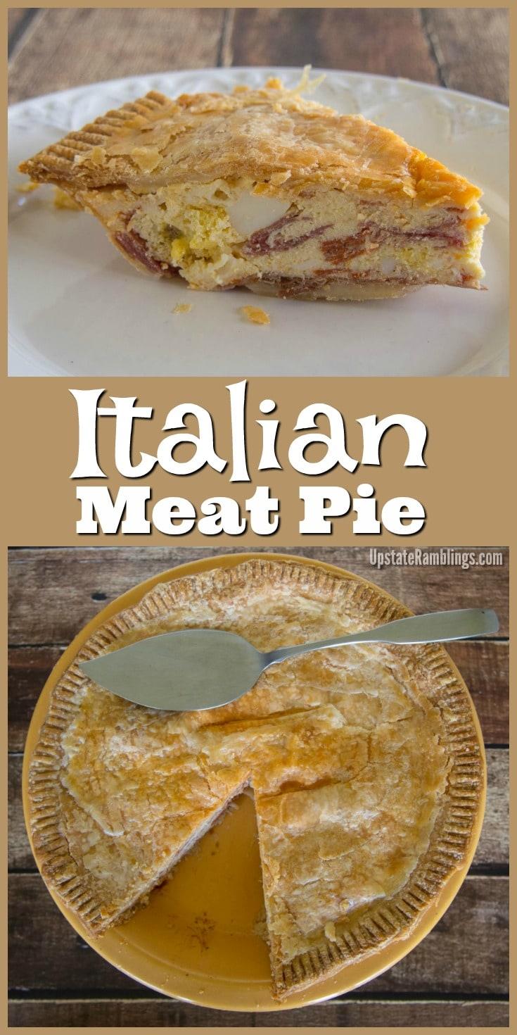 italian easter meat pie prosciutto - also called pizza rustica or pizza chenna