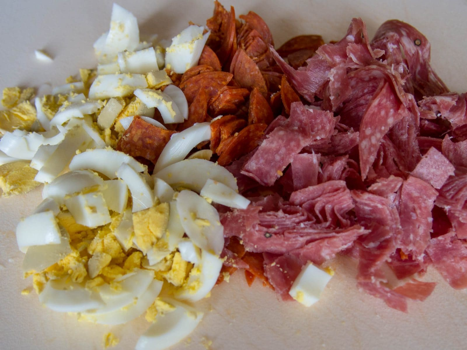 Ingredients for Italian Meat Pie - Egg, pepperoni, proscuitio