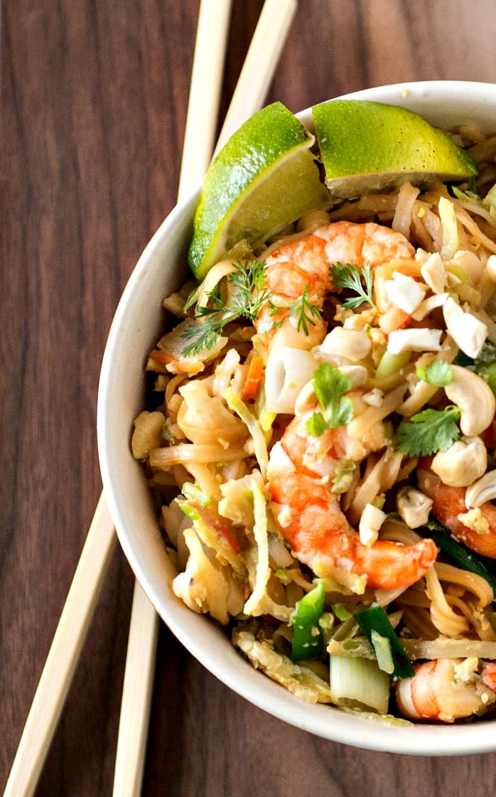 This Easy Shrimp Pad Thai recipe is great for a family weeknight meal and ready in under 30 minutes.