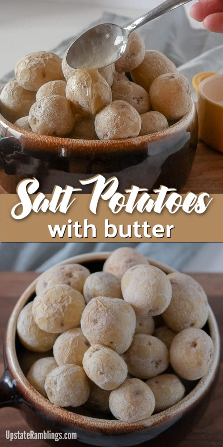 Salt Potatoes are a staple recipe in upstate New York. These creamy, buttery, bite sized potatoes are simple to make and delicious, especially covered in melted butter. They make an amazing addition to your outdoor barbecue or cookout. #potatoes #saltpotatoes #cookout