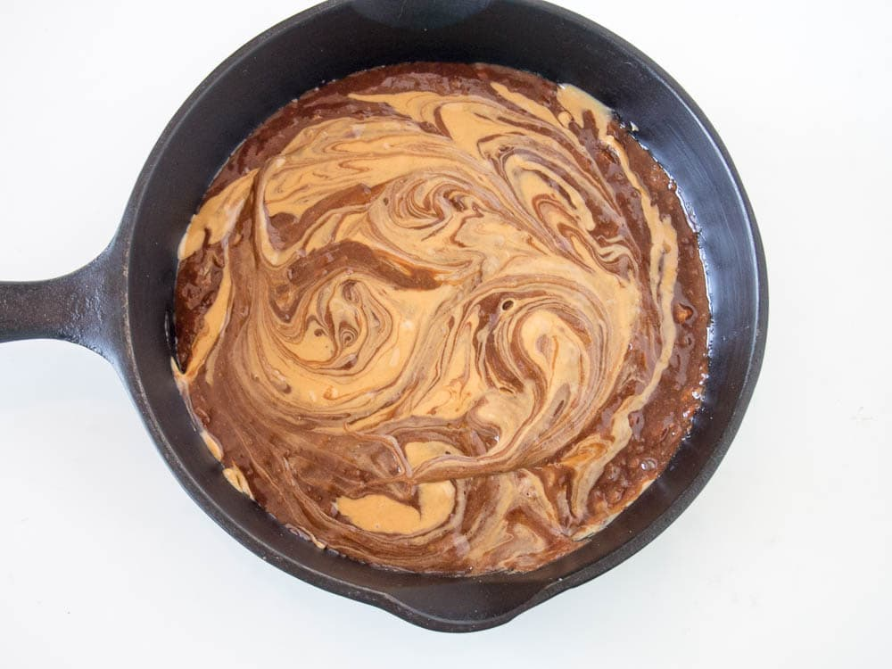 Swirled Chocolate Peanut Butter Cake Batter