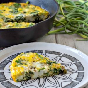 Spinach Frittata with Garlic Scapes