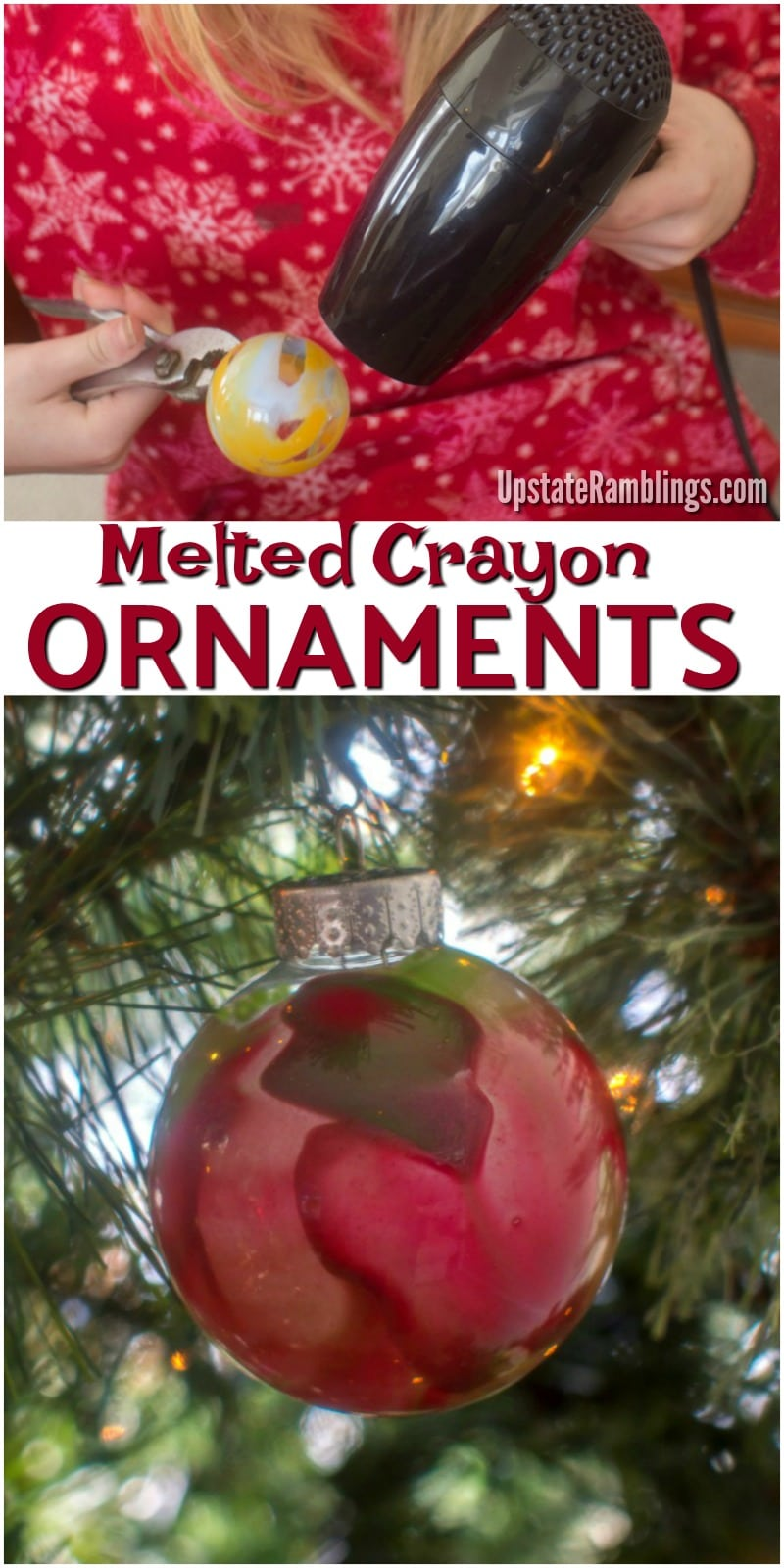 These easy melted crayon Christmas ornaments are pretty and fun to make. Make great memories with your family this holiday season creating this fun DIY ornament. They also are a great homemade holiday gift idea. #christmas #DIY #homemadechristmas #ornament