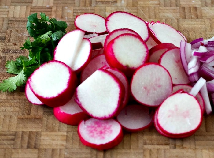 Radishes read for pickling