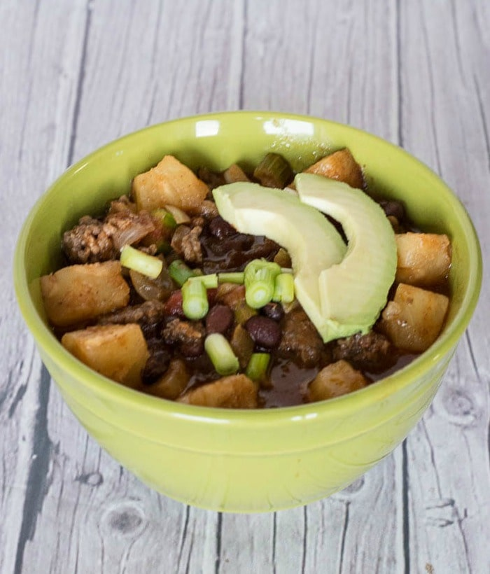 Slow Cooker Hawaiian Chili - an easy meal made with ground beef and pineapple for a busy weeknight from the crock pot.