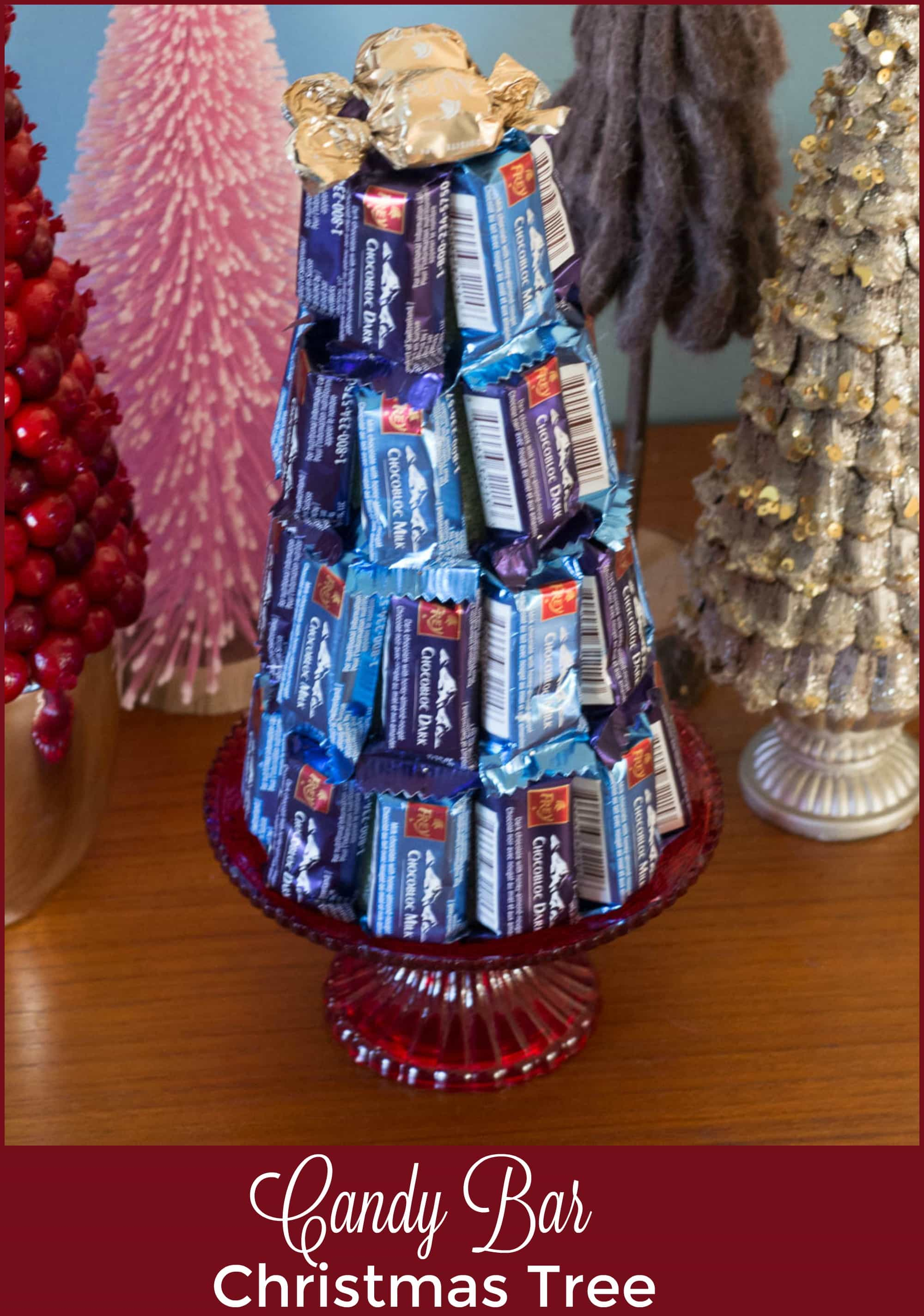 make this cute Candy Bar Christmas tree - a quick, easy and unique way to gift chocolate this holiday season