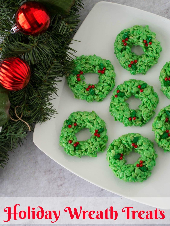 Rice Krispie Treat Wreats   Holday Rice Krispie Treats   Christmas Treats   Simple Rice Krispie Treats   Christmas Cookies