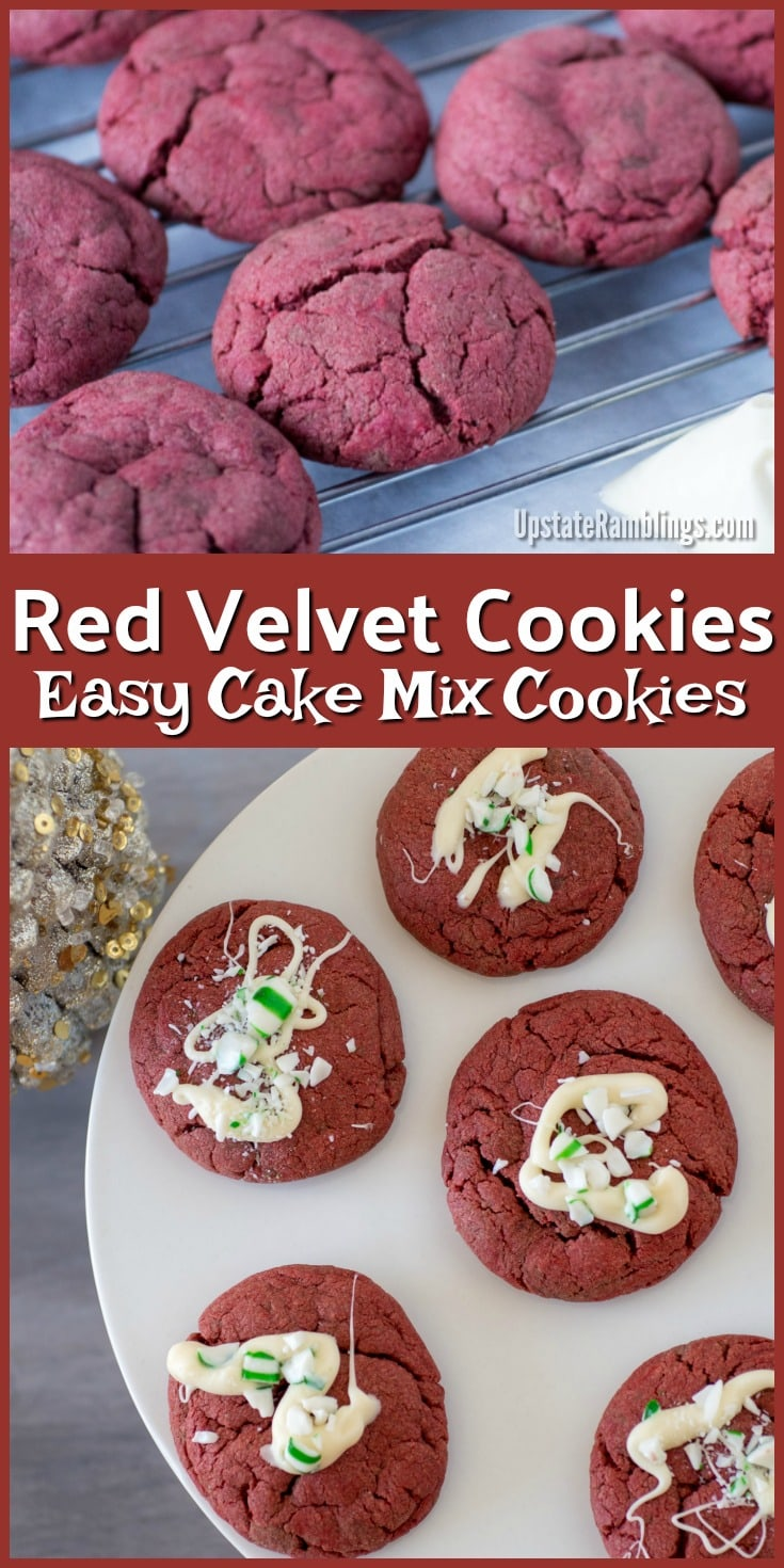 Make these Holiday Red Velvet Cookies - they are drizzled with white chocolate and sprinkled with peppermint candy! Easy to make using a cake mix as a base #christmascookies #cookies #redvelvet #holidaybaking