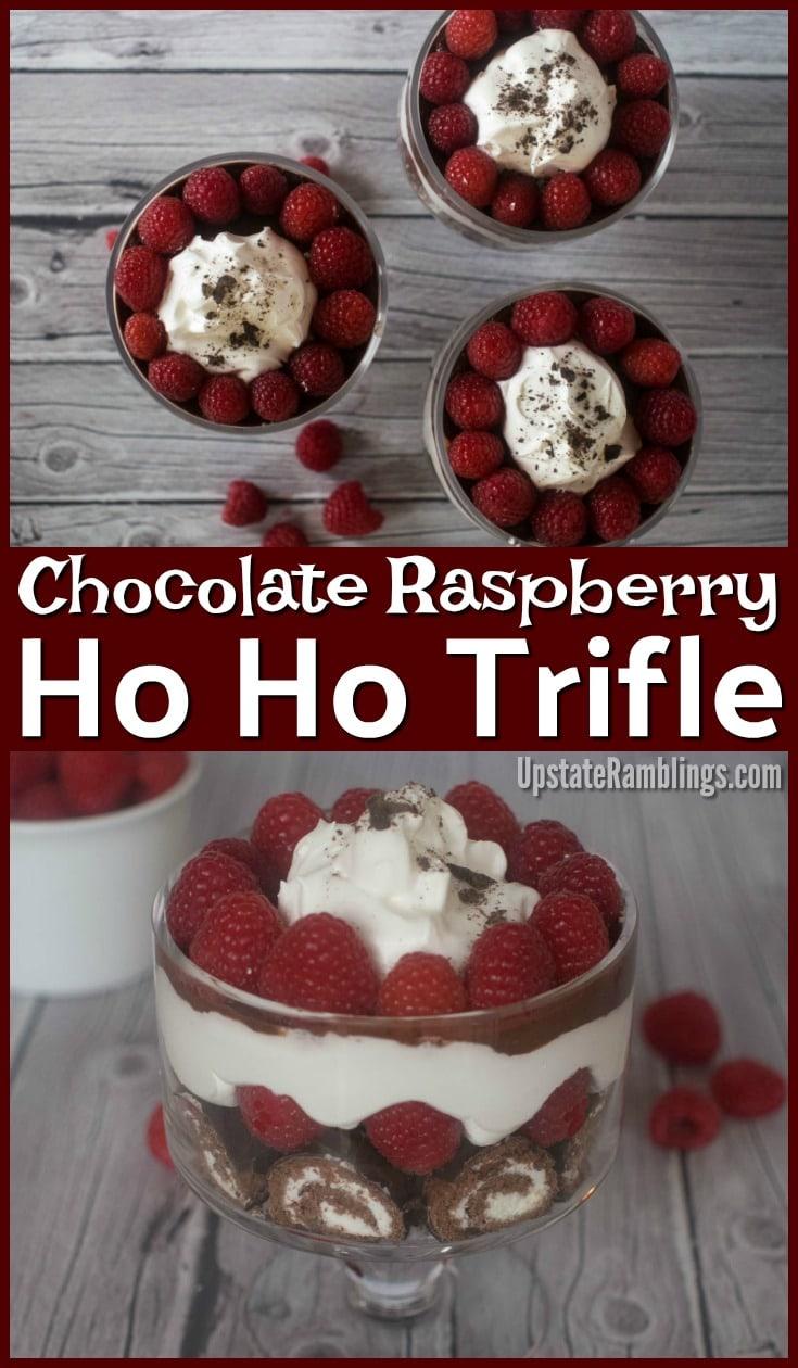 Chocolate Raspberry Trifle made with Ho Hos