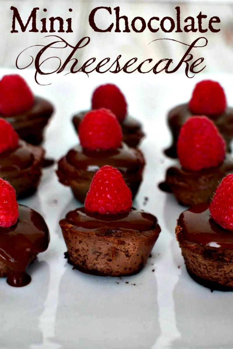 Mini Chocolate Cheesecake -These tasty bite size chocolate cheesecakes are made with Splenda and covered with sugar free chocolate sauce and raspberries. #dessert #cheesecake #minidesserts #splenda #bitesize #chocolate