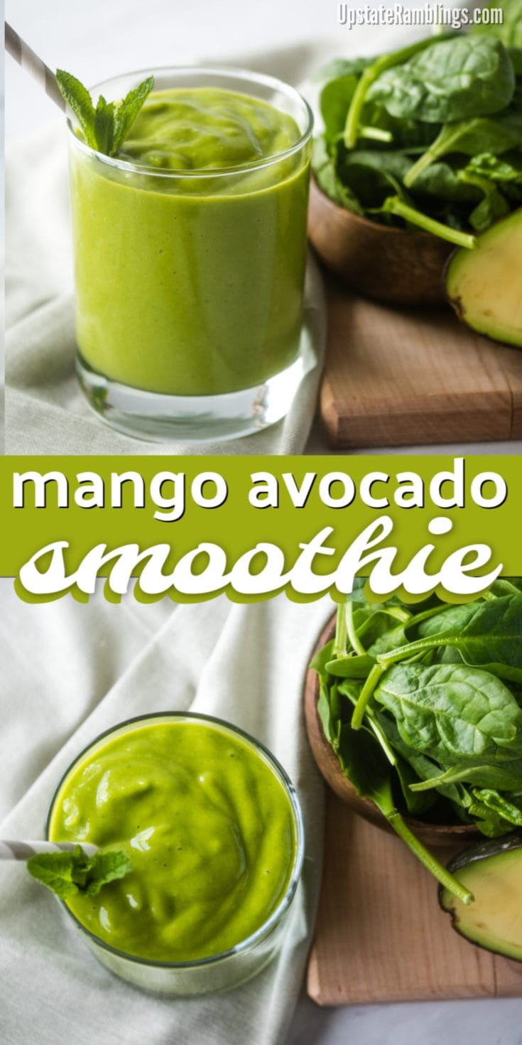 Make this easy and delicious mango avocado smoothie! This creamy green smoothie is made from mango, avocado and spinach for a mango green smoothie that is packed with healthy fats and vitamins. Dairy free and vegan with only 5 ingredients it is perfect for breakfast or a quick snack! #smoothie #greensmoothie