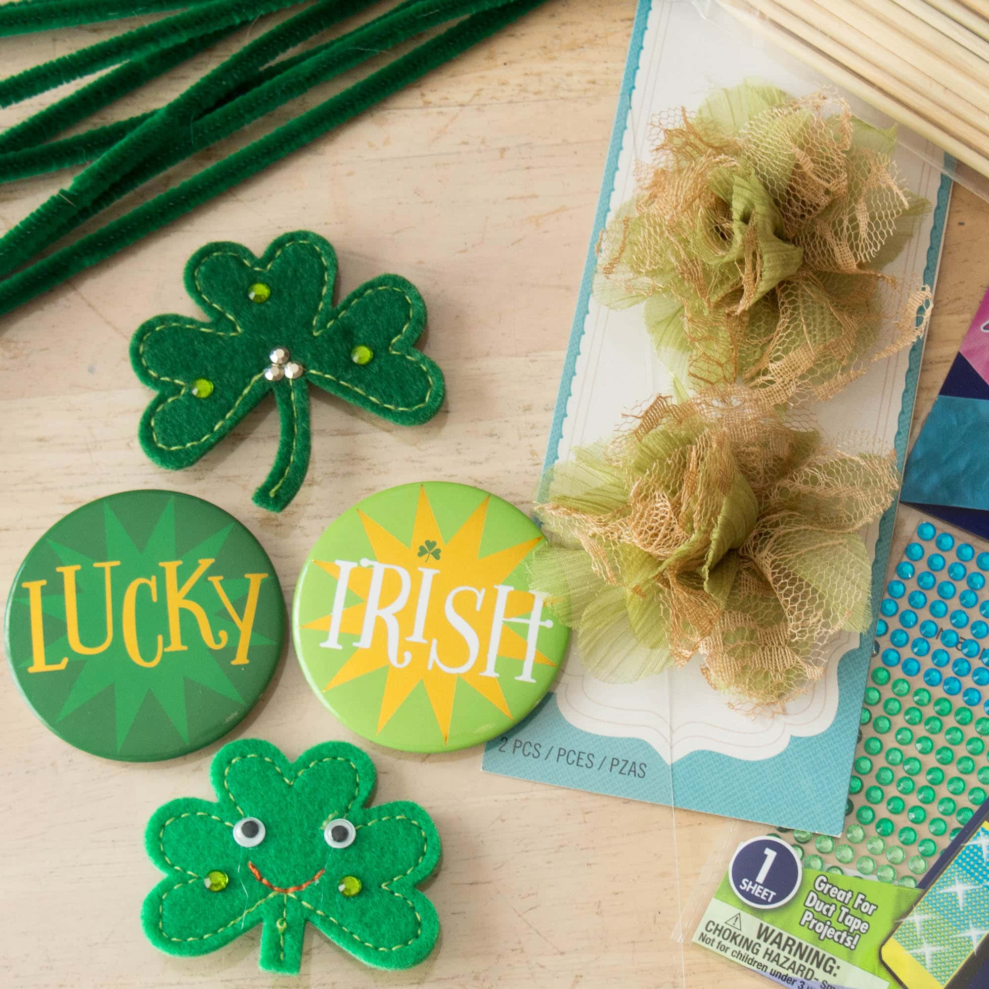 Materials for Easy St. Patrick's Day Centerpiece