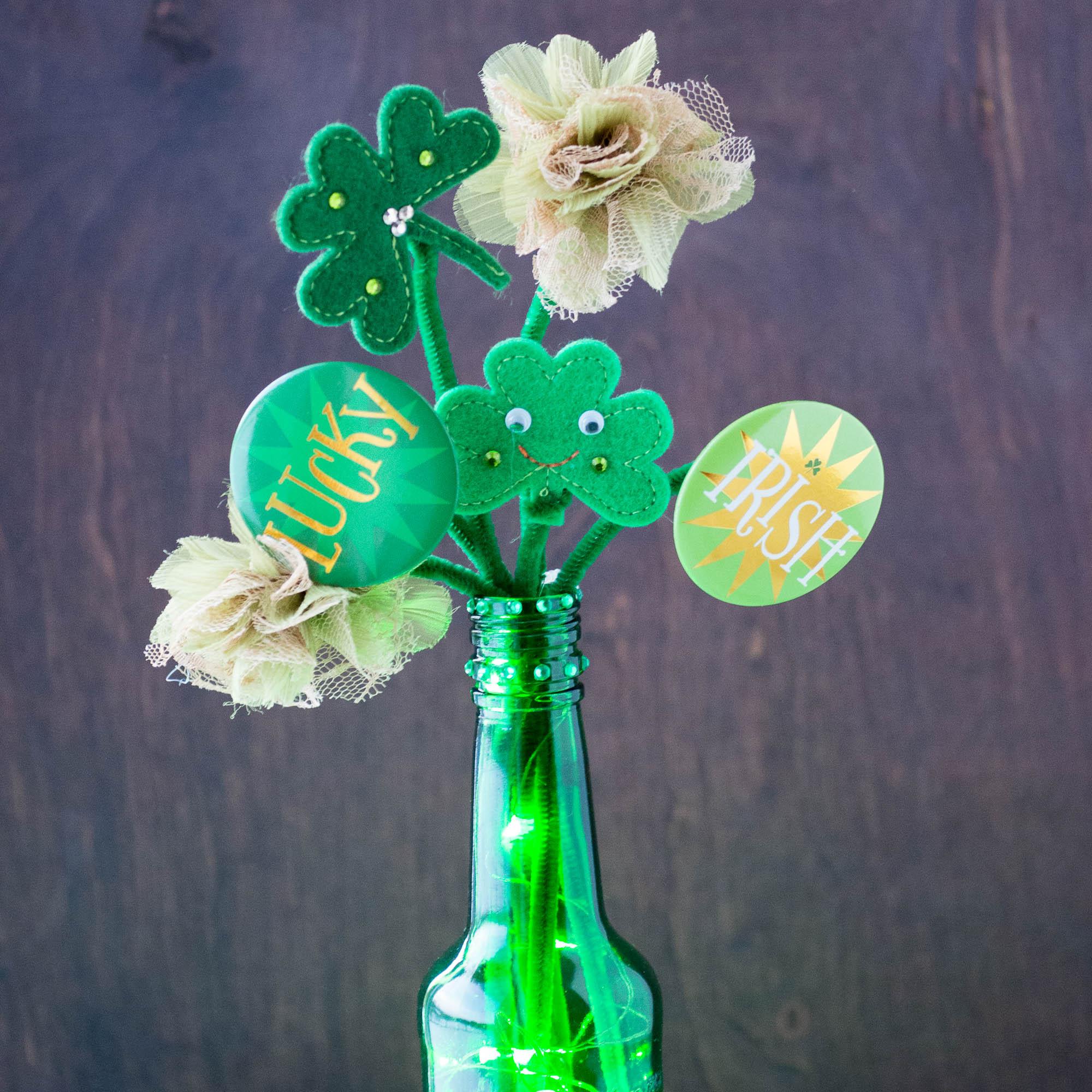 Easy St. Patrick's Day Centerpiece | DIY Centerpiece | Wine Bottle Crafts | St. Patrick's Day LED Light Crafts