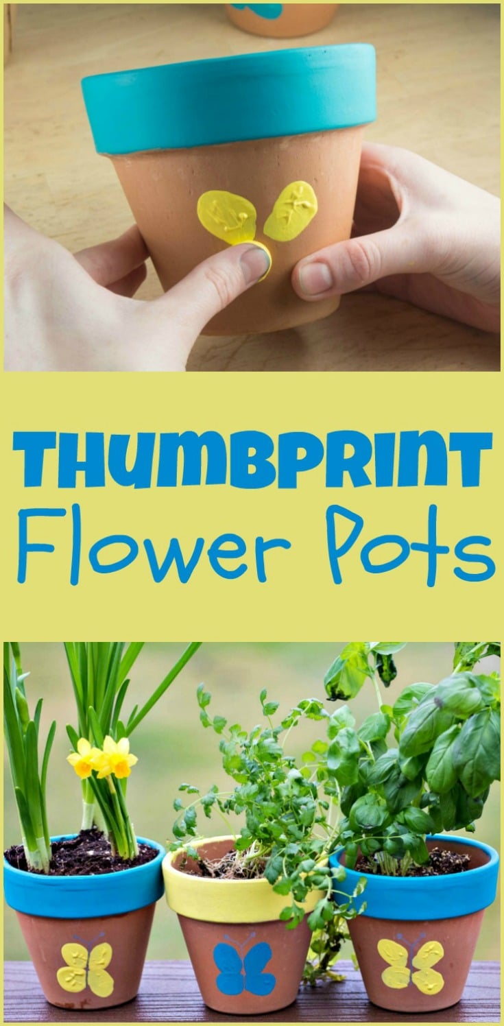 Thumbprint Flower Pots - make cute thumbprint butterflies for Mother's Day