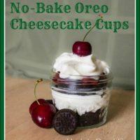 No-bake Oreo Cheesecake Cups with Cherries Recipe