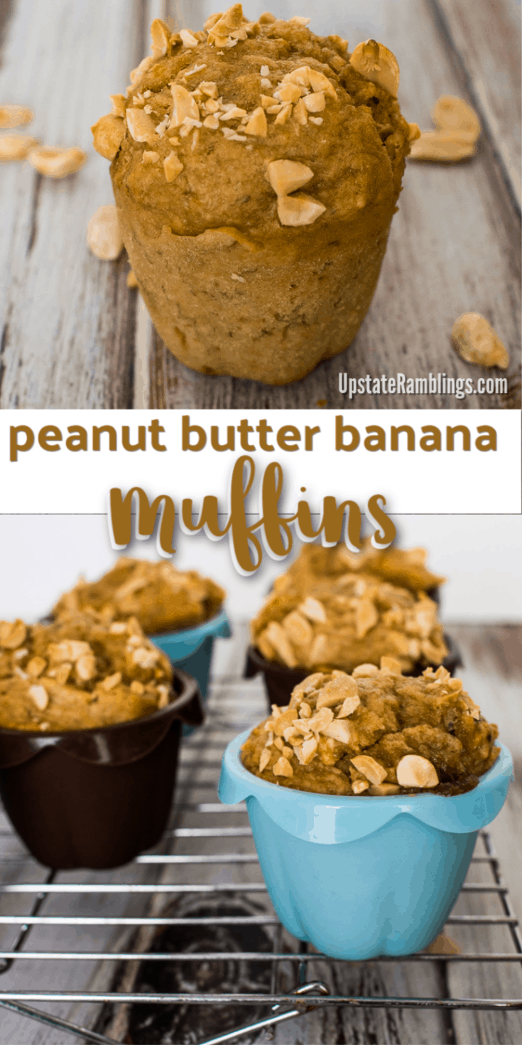 These Peanut Butter Banana Muffins are a delicious, low sugar snack. They combine the great taste of peanut butter with bananas for a delicious low sugar snack, excellent for breakfast or for packing in your child's school lunch. Tasty breakfast muffins that are perfect comfort food. #muffins #peanutbutter