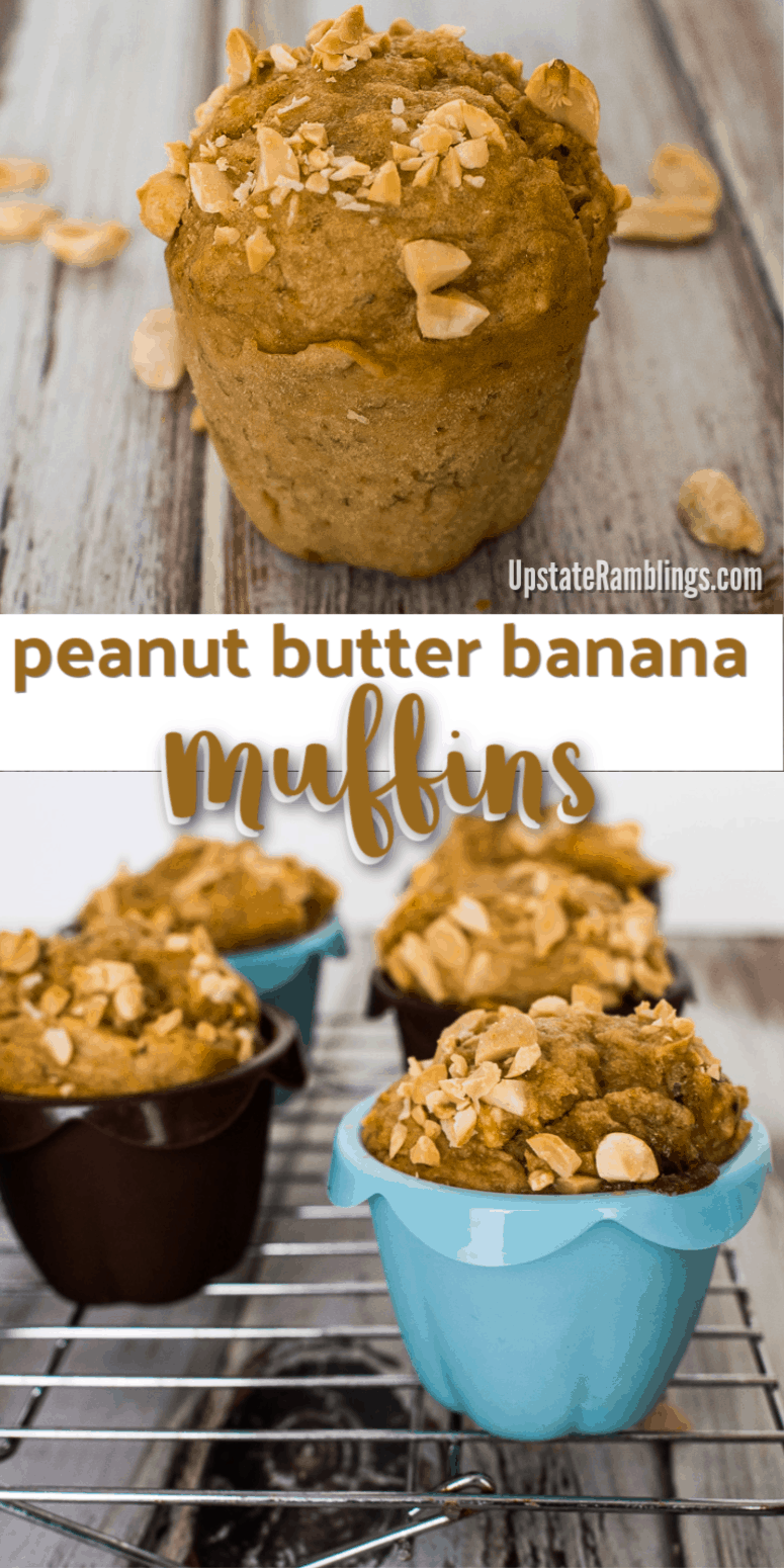 These Peanut Butter Banana Muffins are a delicious, low sugar snack made with peanut butter, bananas and applesauce. They combine the great taste of peanut butter with bananas for a delicious low sugar snack, excellent for breakfast or for packing in your child's school lunch.
