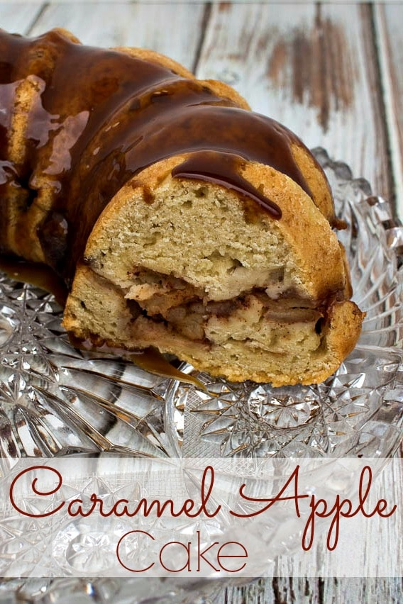Caramel Apple Cake - delicious fall dessert of cake stuffed with apples and topped off with caramel drizzle