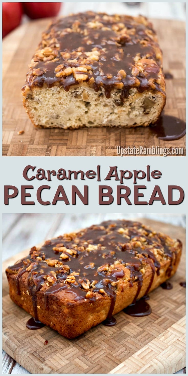 Caramel Apple Pecan Bread - A tasty quick bread for the holidays - this easy apple bread is topped with caramel sauce and pecans