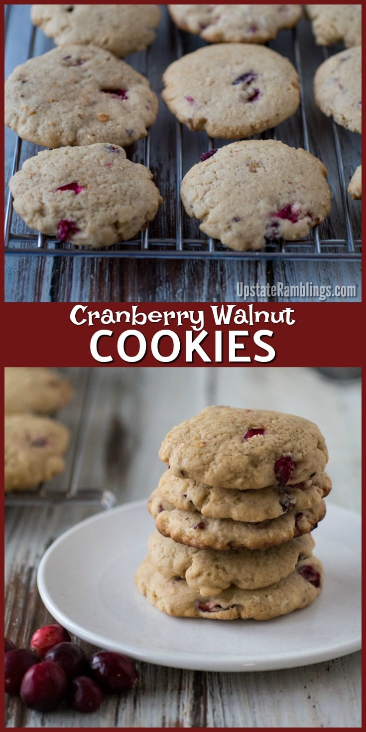 These delicious Cranberry Walnut Cookies are a perfect seasonal treat for the holiday season. Perfect for cookie exchanges! Tart cranberries combine with walnuts for a crispy cookie. #christmascookie #cookies #holidaybaking