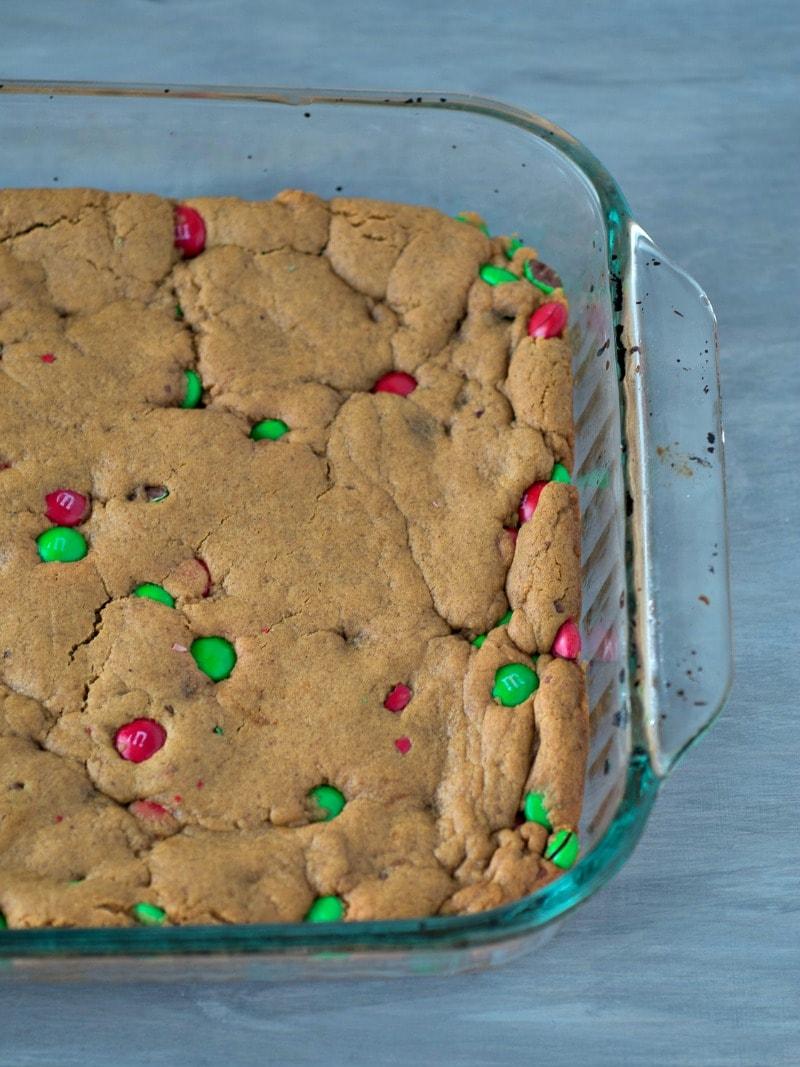Pan of gingerbread cake / brownies / bars for a chrismtas dessert