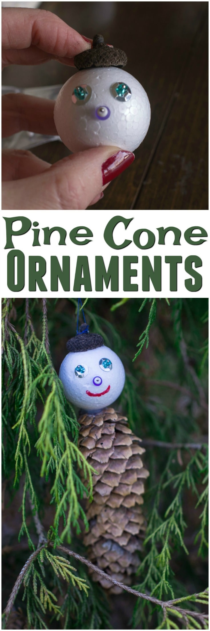 Pine Cone Ornaments | DIY Christmas Ornaments | Acorn Cap Crafts | Pine Cone Men | Pinecone DIY | Creative Xmas Decorations | easy kids crafts