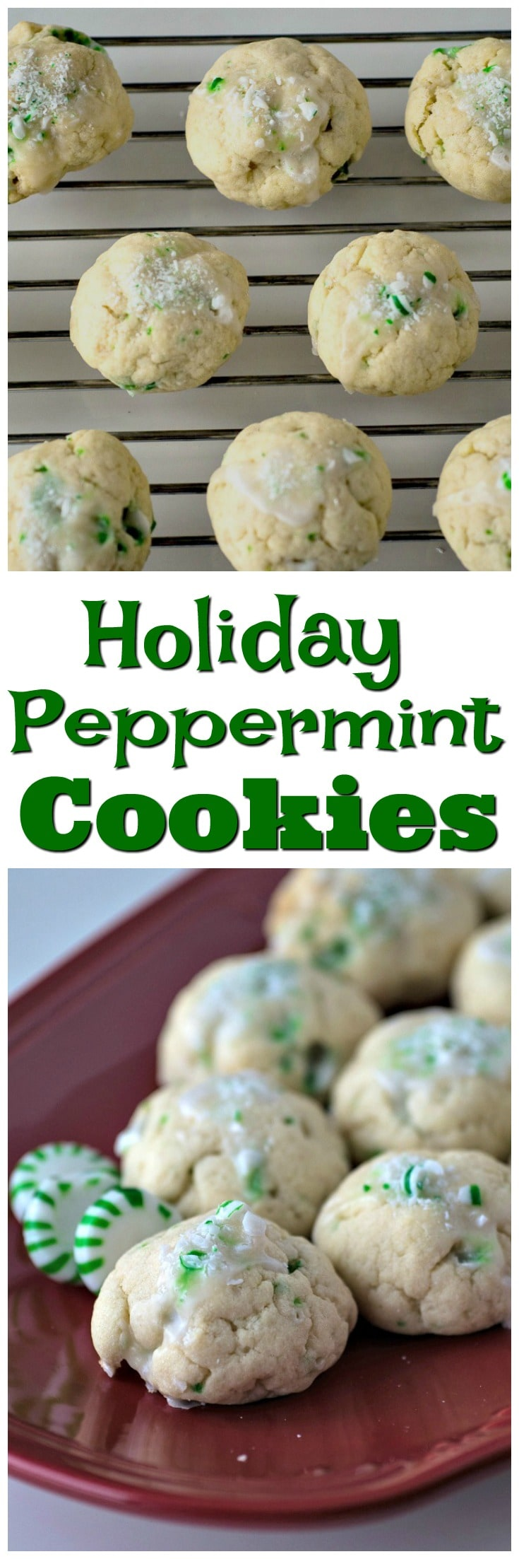 Peppermint Cookies | Easy to Make | Christmas Cookies | Green Peppermint Cookies | Holiday Cookies | Candy Cane | Recipe | Iced Peppermint Cookies | Cookie Exchange