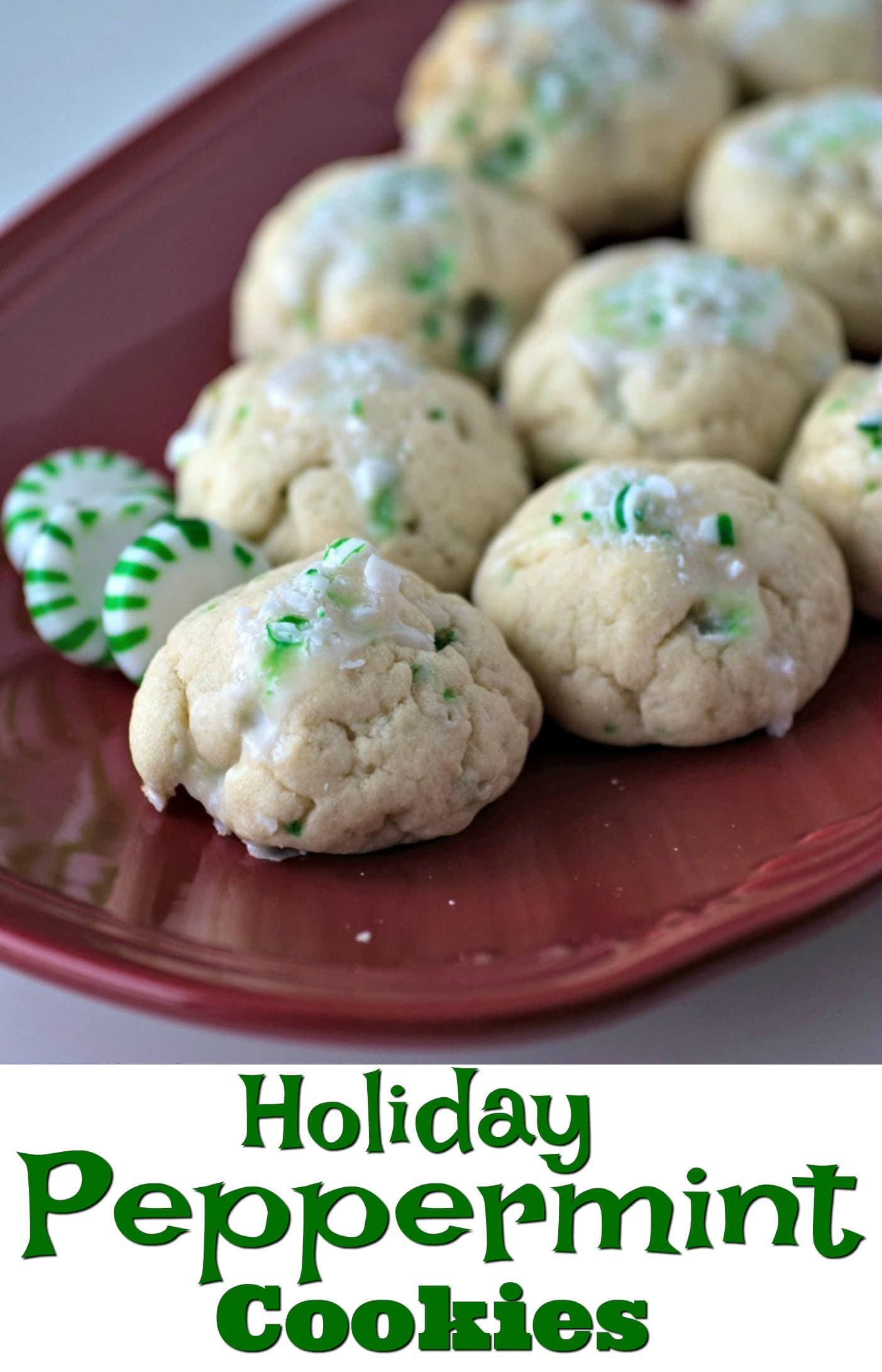 Peppermint Cookies | Easy to Make | Christmas Cookies | Green Peppermint Cookies | Holiday Cookies | Candy Cane | Recipe | Iced Peppermint Cookies