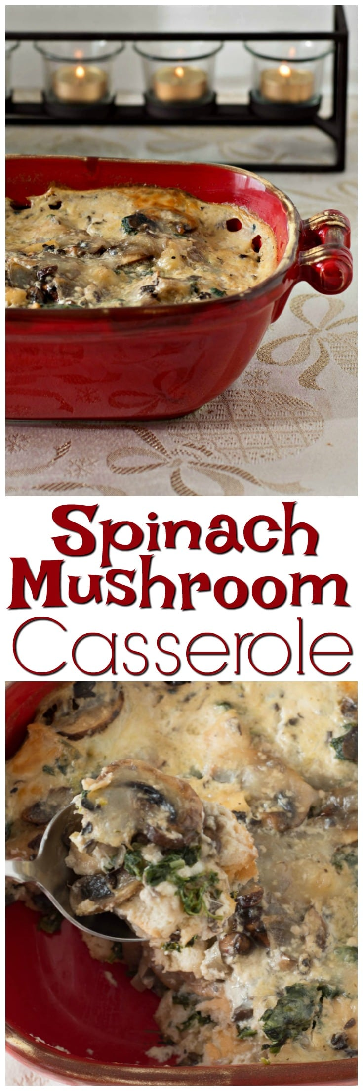 Spinach Mushroom Casserole | Vegetarian Casserole | Comfort Food | One Pot Meal | with Cheese | Meatless Monday | Recipes | Holiday Vegetarian Meals