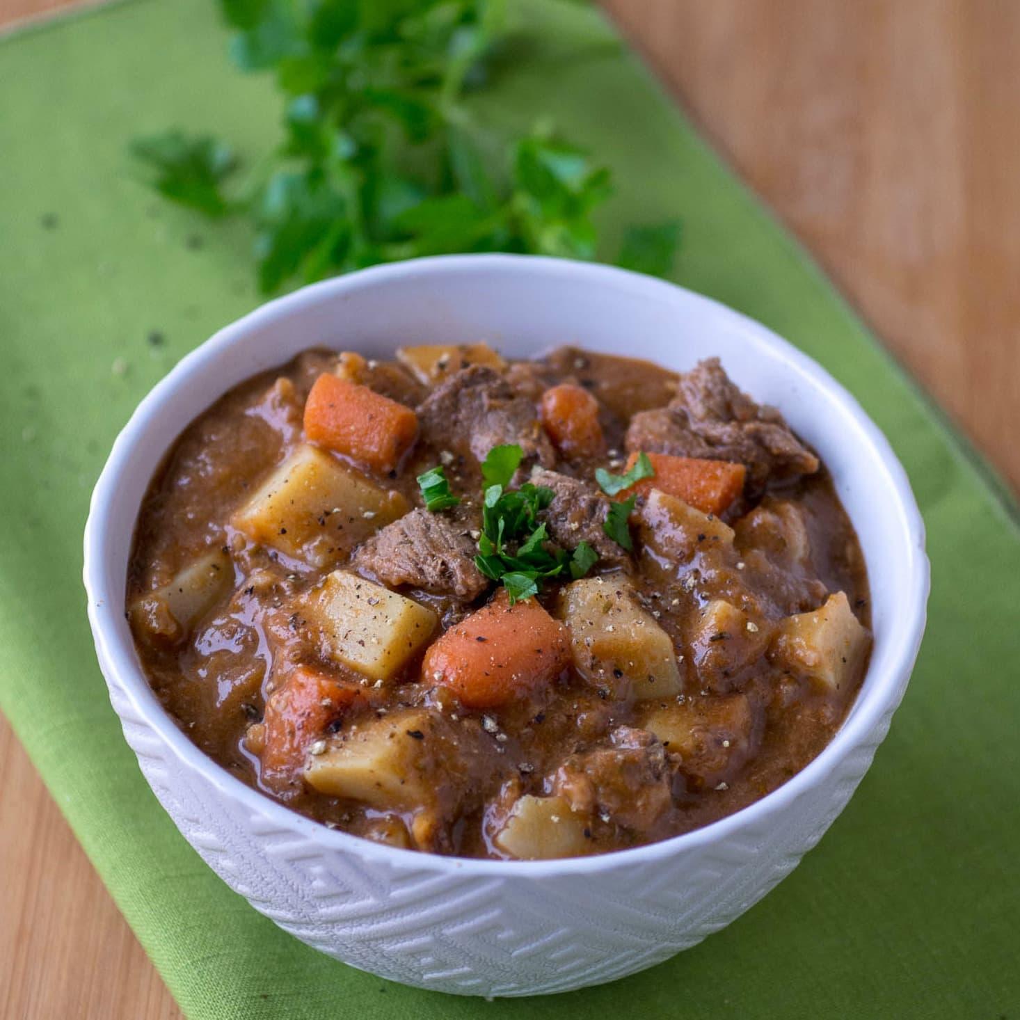 Bowl of Irish Lamb Stew with Guinness