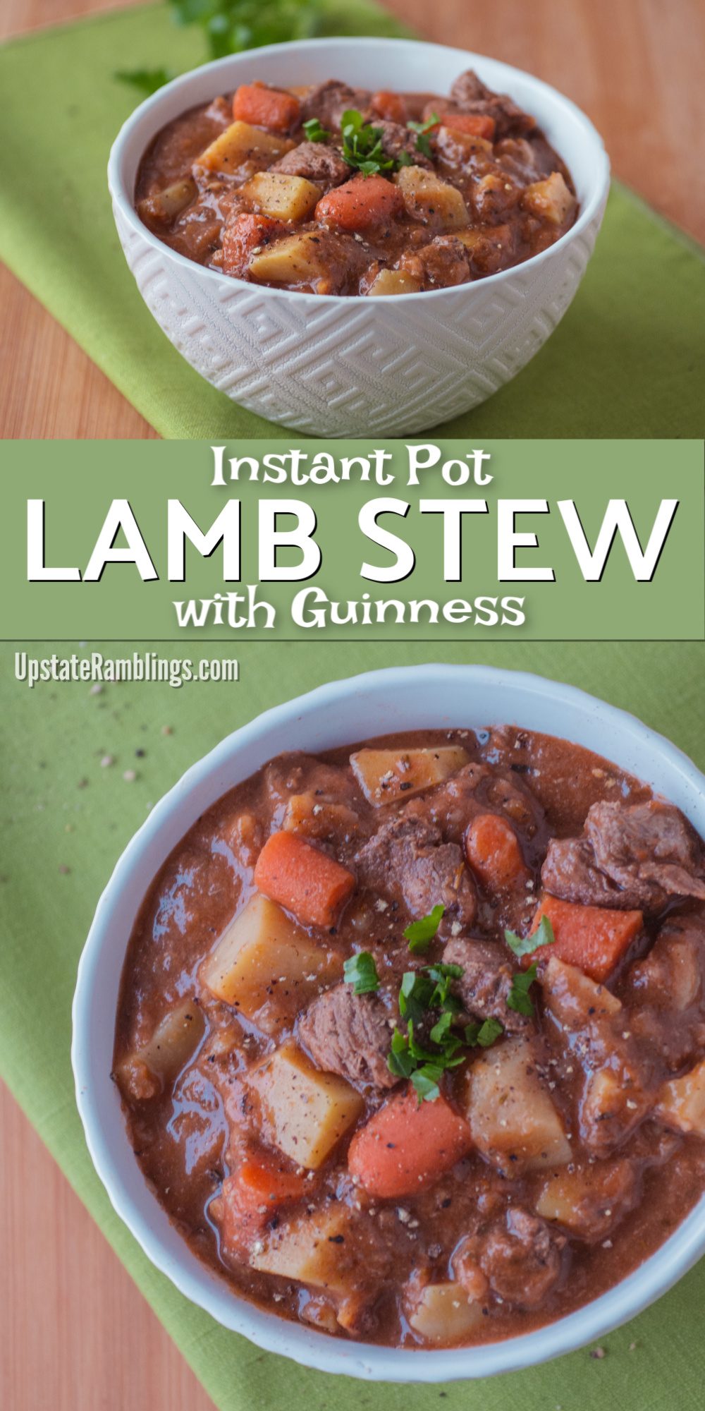This tasty recipe for Instant Pot Lamb Stew is an easy Irish Dish perfect for St. Patrick's Day dinner! Find out how Guinness makes the broth rich and learn my trick for making sure your stew veggies aren't mushy in this Irish Lamb Stew with Guinness. #Irishrecipes #guinness #instantpot
