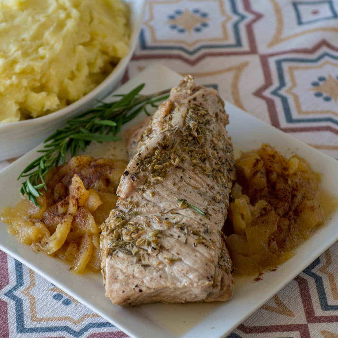 Instant Pot Pork Loin with Apples and Mashed Potatoes