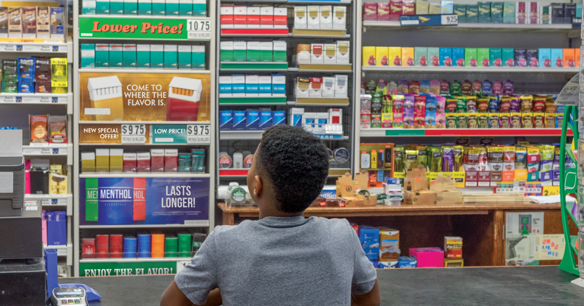 Tobacco products displayed for kids