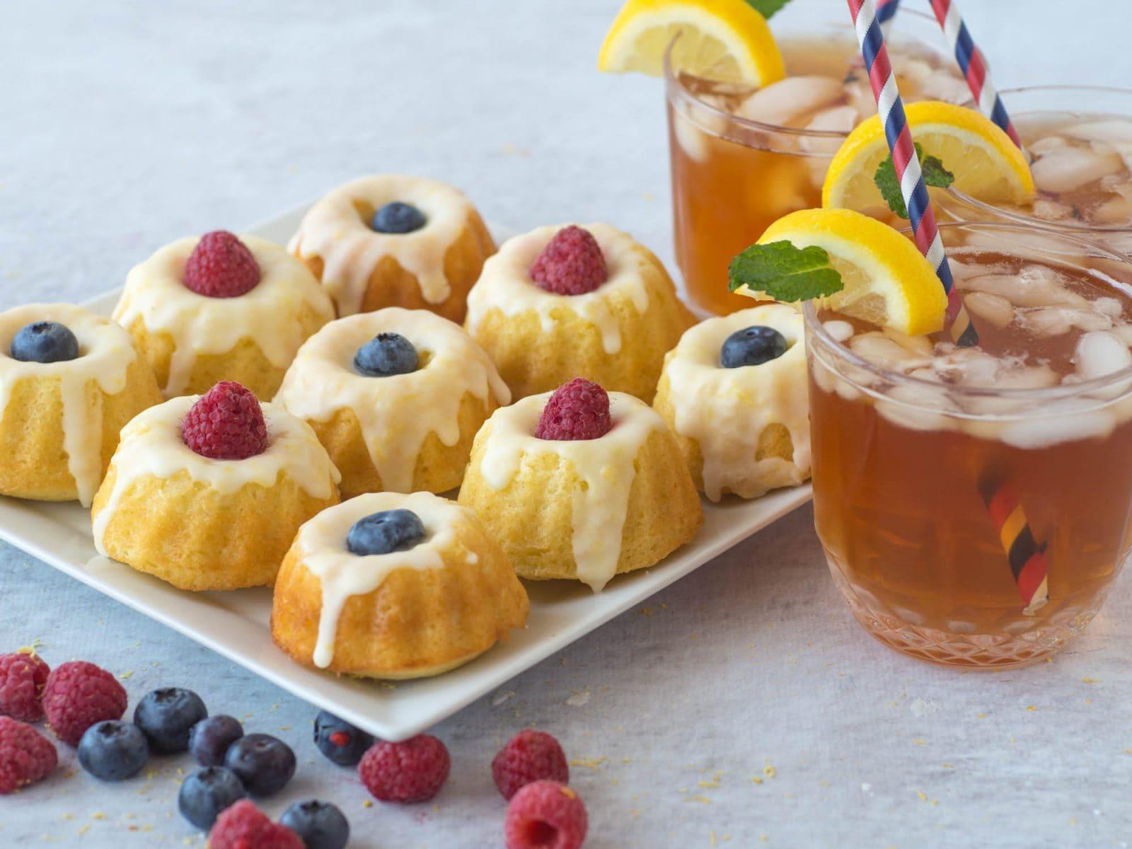 Serving mini lemon bundt cakes with iced tea