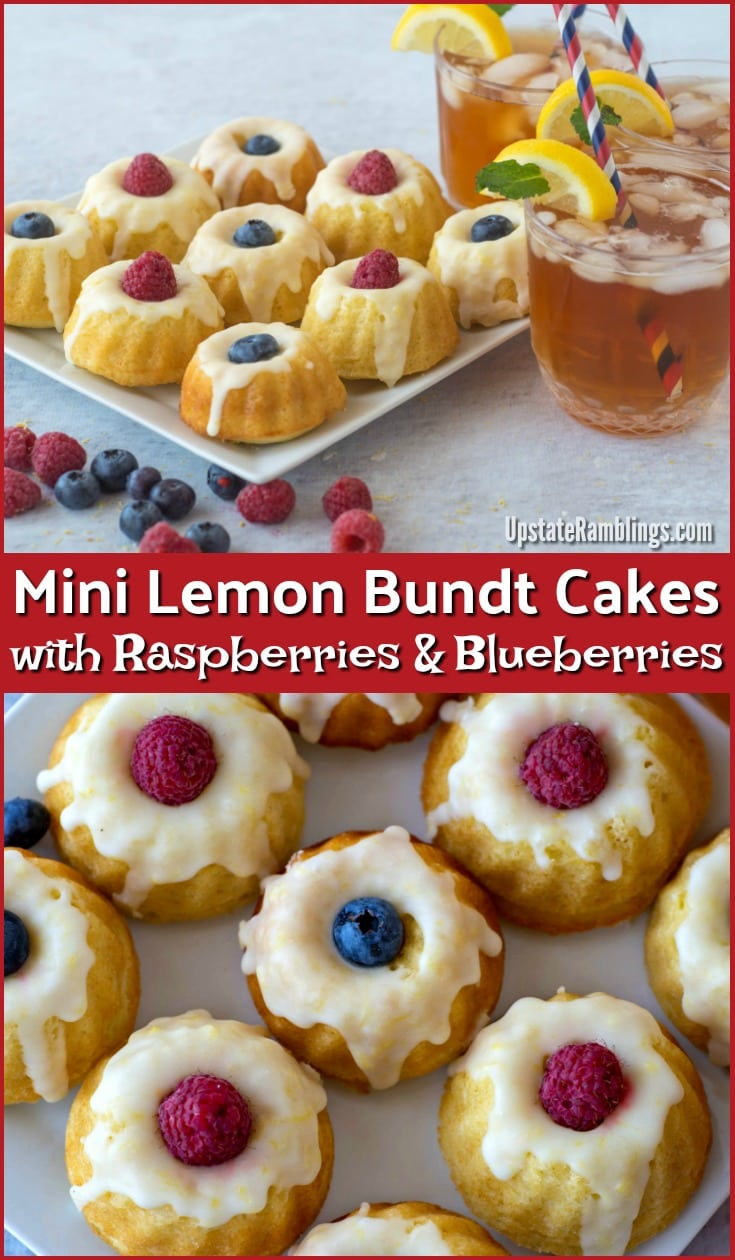 Mini Lemon Bundt Cake with Raspberries and Blueberries