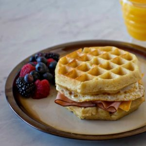 Ham, Egg and Cheese Waffle Sandwiches