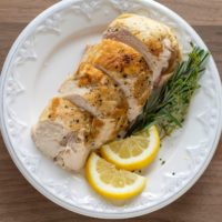 overhead view of sous vide chicken breast