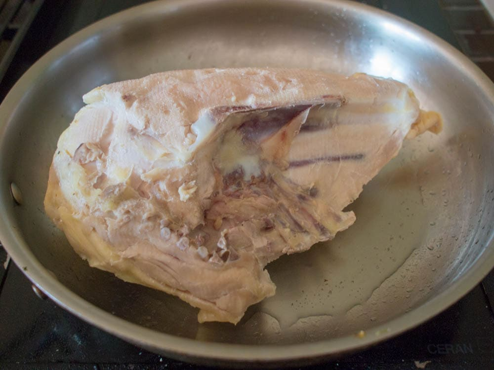 Browning the chicken breast after sous vide cooking