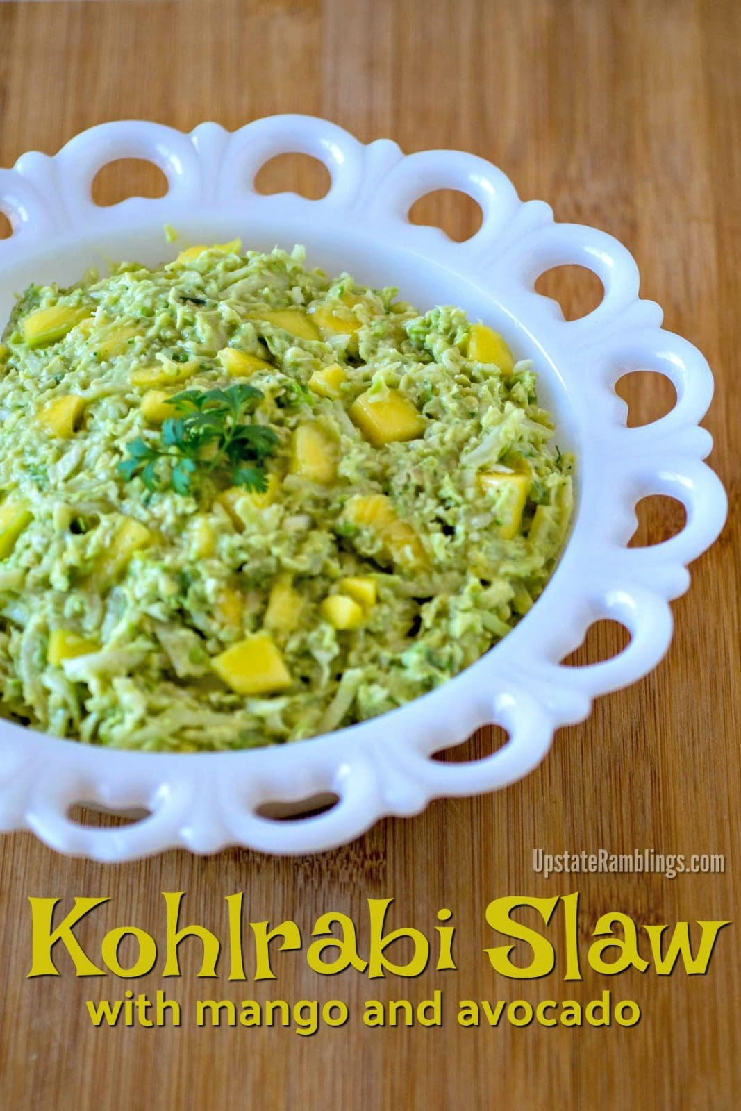 This tasty Kohlrabi Slaw is made with mango and avocado for an easy and healthy kohlrabi recipe you can make for your next picnic or outdoor gathering. #kohlrabi #kohlrabislaw #kohlrabisalad #kohlrabirecipes #mango