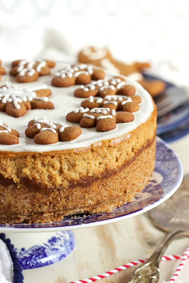 Adorable Gingerbread Cheesecake topped with gingerbread cookies