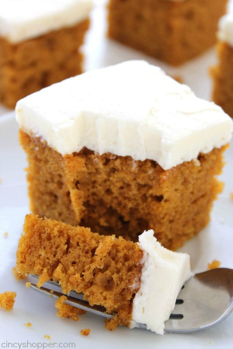 Pumpkin Cake with Cream Cheese Frosting - Fall Cake Ideas