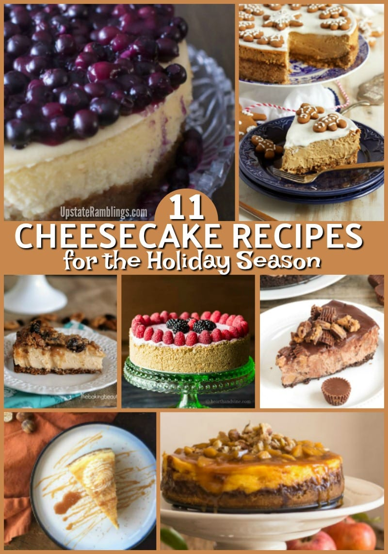 Looking for a spectacular holiday dessert this year? Check out these easy and tasty cheesecake recipes and find one that will appeal to your family. Serve something other than pie this year for Thanksgiving or Christmas! #cheesecake #holidaybaking #thanksgiving #christmas