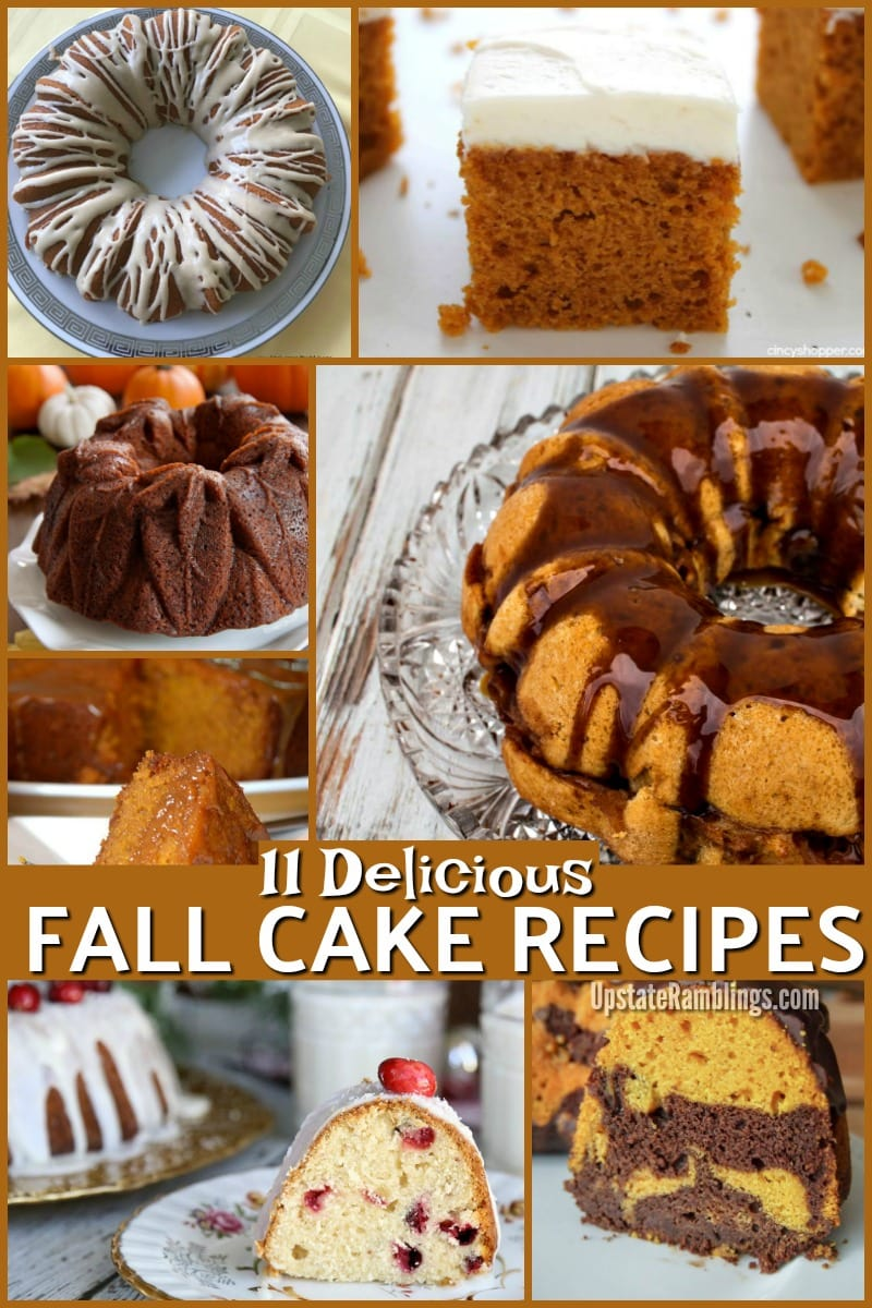 Make a tasty fall cake recipe this year! Whether your favorite fall flavor is apple, pumpkin, cranberries, walnut or maple one of these delicious fall themed cakes is sure to be a hit for your family. These autumn cake recipe ideas are perfect for a fall birthday cake, Thanksgiving or Halloween. #fallrecipes #cake #cakerecipes #fallbaking