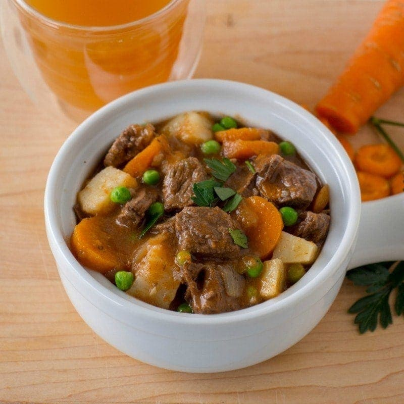 Apple Cider Beef Stew cooked in the pressure cooker