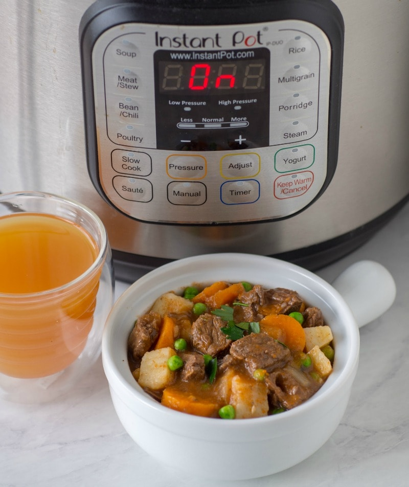 Bowl of Instant Pot Beef Stew made with apple cider for fall