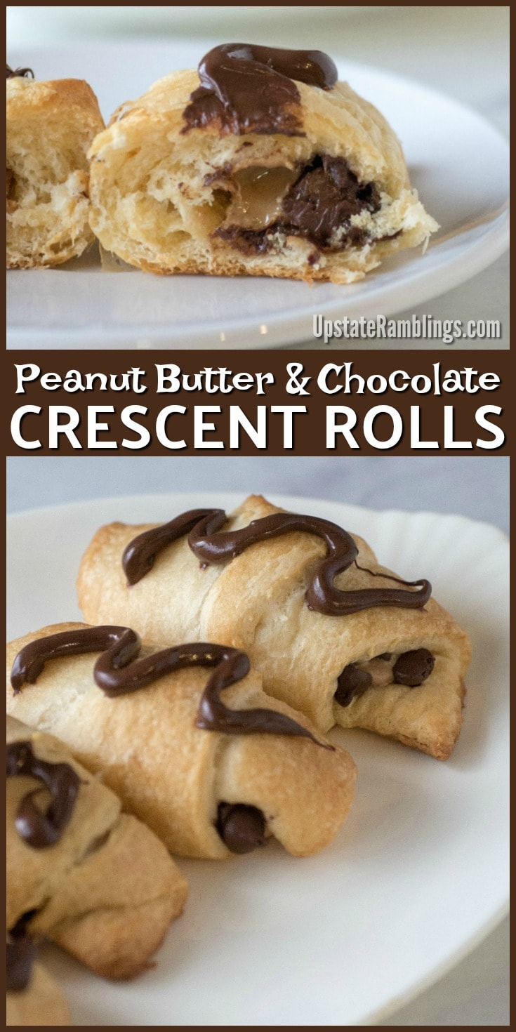 These easy Peanut Butter and Chocolate Crescent Rolls have only 3 ingredients and take just minutes to prepare - so you and your family can enjoy a tasty crescent roll dessert in no time at all, perfect for dessert, breakfast, brunch or a snack! #crescentrolldesserts #chocolate #easydessert