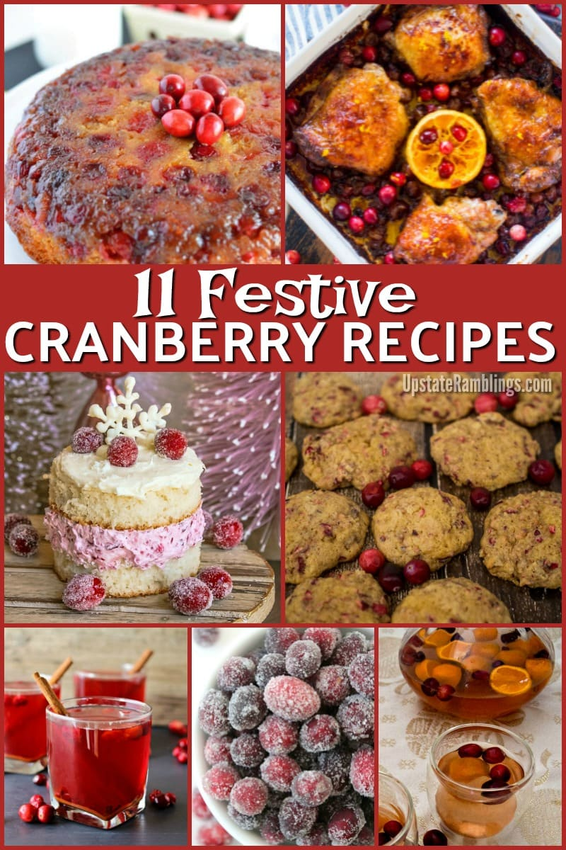Do something different with cranberries this holiday season! This collection of recipes includes 11 tasty ideas for using cranberries other than the old standbys of cranberry sauce and cranberry bread. Make a cake, bake chicken, top sweet potatoes or make a tasty drink. #cranberries #cranberry #holidaybaking #Thanksgiving